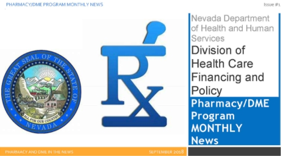 State seal, Pharmacy and DME Monthly News label